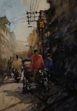 Cityscape Watercolor Art Painting title Untitled 2 by artist Subrata Malakar