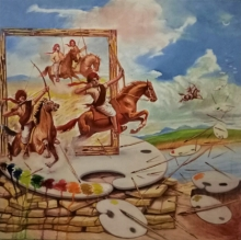 Figurative Oil Art Painting title Laksha by artist Vijay Gille