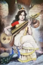 Religious Acrylic Art Painting title Saraswati by artist Vijay Gille