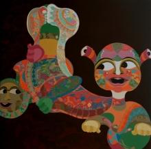 Figurative Acrylic Art Painting title Journey Of Umbilicalism by artist Tanushree Chakraborty