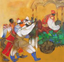 Figurative Acrylic Art Painting title Bandwallah 2 by artist Chandramohan Kulkarni