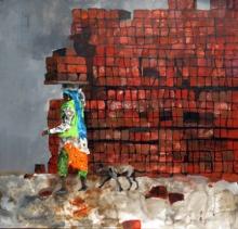 Figurative Acrylic Art Painting title Yeh Shahar Kisne Banaya by artist Chandramohan Kulkarni