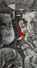 Figurative Mixed-media Art Drawing title Divine Feeling by artist Ajay Kumar Samir