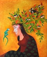 contemporary Acrylic Art Painting title Soulful Conversation by artist Vandana Rakesh