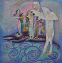 contemporary Acrylic Art Painting title Survival Of The Fittest by artist Vandana Rakesh
