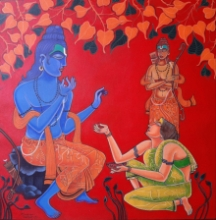 Religious Acrylic Art Painting title Ramayana Series 3 by artist Ramana Peram