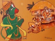 Religious Acrylic Art Painting title Ramayana Series 4 by artist Ramana Peram
