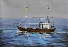 Seascape Acrylic Art Painting title Boat by artist Chandrashekhar P Aher