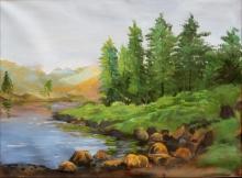 Landscape Acrylic Art Painting title Riverside by artist Chandrashekhar P Aher