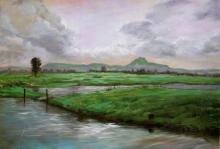 Nature Acrylic Art Painting title Riverside 2 by artist Chandrashekhar P Aher