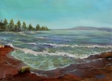 Seascape Acrylic Art Painting title Seashore by artist Chandrashekhar P Aher
