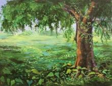 Landscape Acrylic Art Painting title Tree 1 by artist Chandrashekhar P Aher