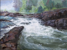 Seascape Acrylic Art Painting title Waterfall 2 by artist Chandrashekhar P Aher