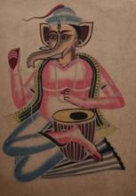 art, painting, mixedmedia, paper, religious, ganesha