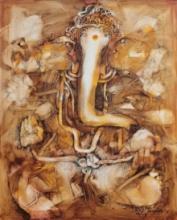 art, painting, oil, canvas, religious, ganesha