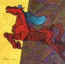 Horse - Dynamism 2 | Painting by artist Dinkar Jadhav | acrylic | Canvas