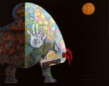 Bull - Dynamism 1 | Painting by artist Dinkar Jadhav | acrylic | Canvas