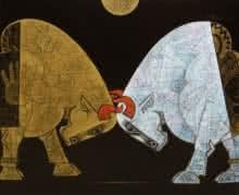 Bull - Friends Forever   Painting by artist Dinkar Jadhav   acrylic   Canvas