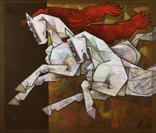 Dinkar Jadhav Paintings | Animals Painting - Horse Exaltation 2 by artist Dinkar Jadhav | ArtZolo.com