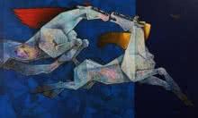 Horses - Seize The Day | Painting by artist Dinkar Jadhav | acrylic | Canvas