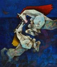 Horses - The Saga Of Love | Painting by artist Dinkar Jadhav | acrylic | Canvas