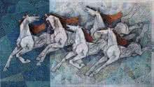 Horses 2 | Painting by artist Dinkar Jadhav | acrylic | Canvas