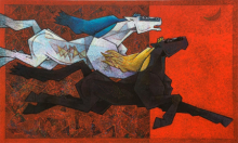 Animals Acrylic Art Painting title 'Horses 5' by artist Dinkar Jadhav