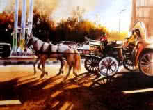 Landscape Watercolor Art Painting title The Chariot by artist Hamlet Shougrakpam
