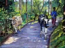 Village | Pastel by artist Niharika Garg | on Chowky board Framed