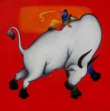 Krishna Lila | Painting by artist Rajesh Shah | acrylic | Canvas
