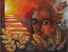 Figurative Acrylic Art Painting title 'The Exaltation' by artist Huma Hussain