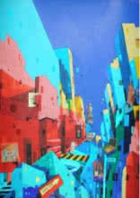Fantasy Mixed-media Art Painting title 'Urban Landscape 3' by artist Abhijit Paul