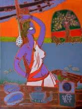 At The Tea stall | Painting by artist Santanu Nandan Dinda | acrylic | Canvas