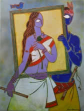 Figurative Acrylic Art Painting title 'In A Frame 1' by artist Santanu Nandan Dinda