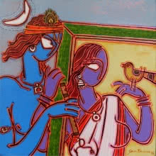 indian, lady, contemporary, folk, tribal art, canvas, acrylic, santanu, dinda, dog, village, radha, krishna