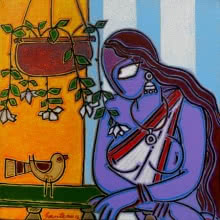 Figurative Acrylic Art Painting title 'Lady With A Bird' by artist Santanu Nandan Dinda