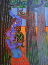 Lady With A Puppet 1 | Painting by artist Santanu Nandan Dinda | acrylic | Canvas