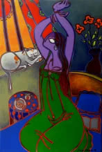 Figurative Acrylic Art Painting title Morning Tea by artist Santanu Nandan Dinda