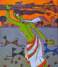 indian, lady, contemporary, folk, tribal art, canvas, acrylic, santanu, dinda, dog, village