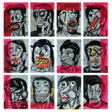 Jokers | Painting by artist Sumantra Mukherjee | acrylic | Carbon Felt Board