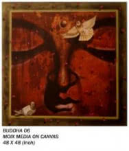 Motivational Mixed-media Art Painting title 'Buddha 06' by artist Anurag Jadia