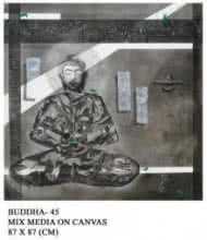 Buddha 45 | Painting by artist Anurag Jadia | mixed-media | Canvas