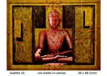 Figurative Mixed-media Art Painting title 'Buddha 15' by artist Anurag Jadia
