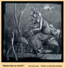 Figurative Pencil Art Drawing title 'Main Paa ' Choti' by artist Trapti Gupta