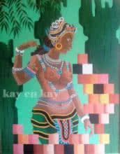 Religious Acrylic Art Painting title Celestial by artist Narayanankutty Kasthuril