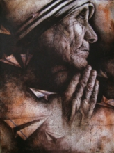 Figurative Acrylic Art Painting title Mother Teresa by artist Palash Halder