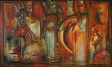 Figurative Oil Art Painting title 'Incredible Beauty' by artist Pijush Kanti Bera