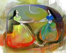 Figurative Acrylic Art Painting title 'Phugadi 2' by artist Sardar Jadhav