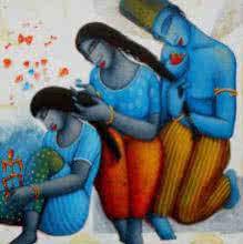 Blue Love Family | Painting by artist Samir Sarkar | acrylic | Canvas