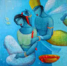 Figurative Acrylic Art Painting title 'Blue Love Couple' by artist Samir Sarkar